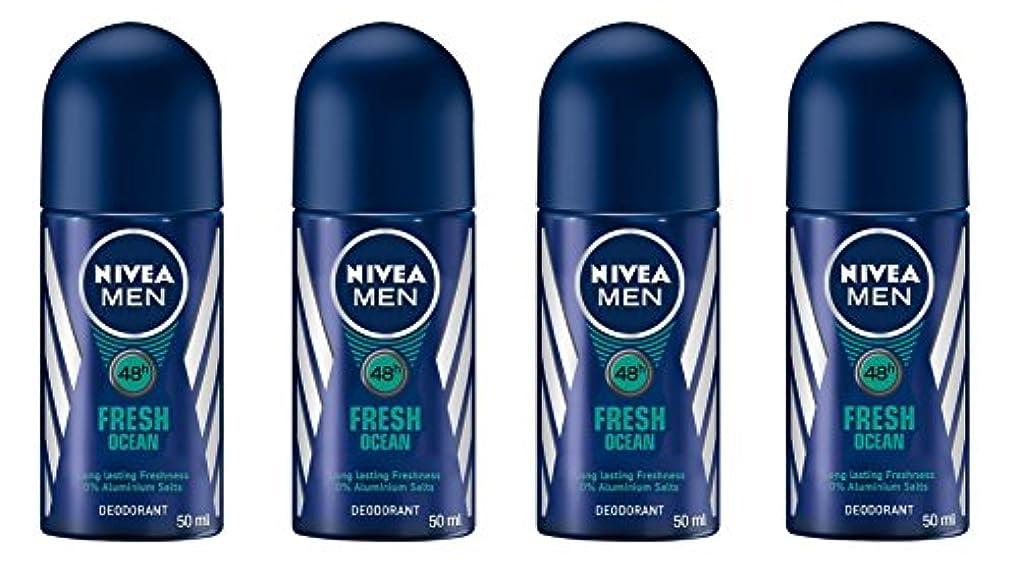 サンプルメンタルガラガラ(Pack of 4) Nivea Fresh Ocean Deodorant Roll On for Men 4x50ml - (4パック) ニベア新鮮な海洋デオドラントロールオン男性用4x50ml