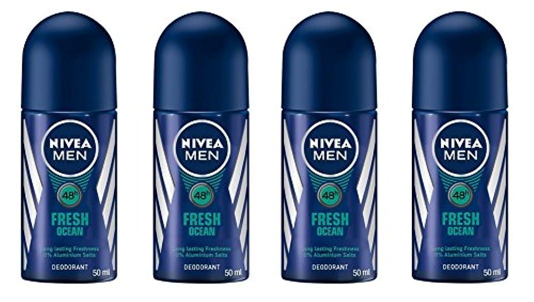 (Pack of 4) Nivea Fresh Ocean Deodorant Roll On for Men 4x50ml - (4パック) ニベア新鮮な海洋デオドラントロールオン男性用4x50ml