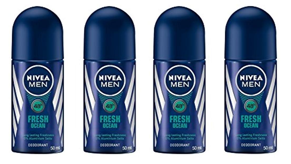 ブランデーグラム雑多な(Pack of 4) Nivea Fresh Ocean Deodorant Roll On for Men 4x50ml - (4パック) ニベア新鮮な海洋デオドラントロールオン男性用4x50ml