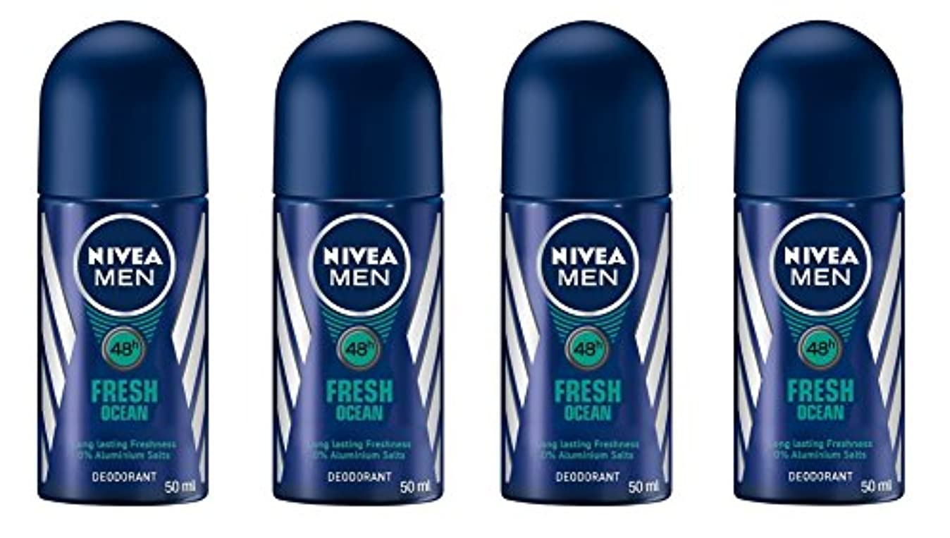 危険な聖職者おもちゃ(Pack of 4) Nivea Fresh Ocean Deodorant Roll On for Men 4x50ml - (4パック) ニベア新鮮な海洋デオドラントロールオン男性用4x50ml