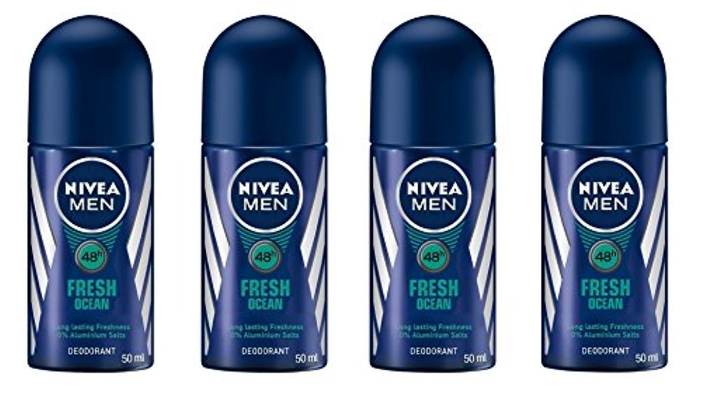 肌寒いループ物質(Pack of 4) Nivea Fresh Ocean Deodorant Roll On for Men 4x50ml - (4パック) ニベア新鮮な海洋デオドラントロールオン男性用4x50ml