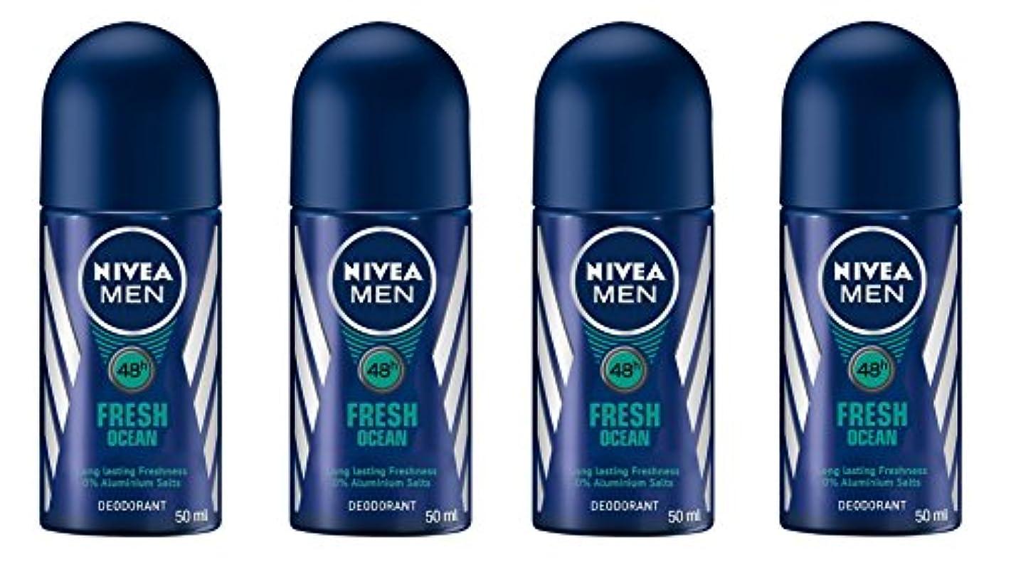 実験広告主ロッド(Pack of 4) Nivea Fresh Ocean Deodorant Roll On for Men 4x50ml - (4パック) ニベア新鮮な海洋デオドラントロールオン男性用4x50ml