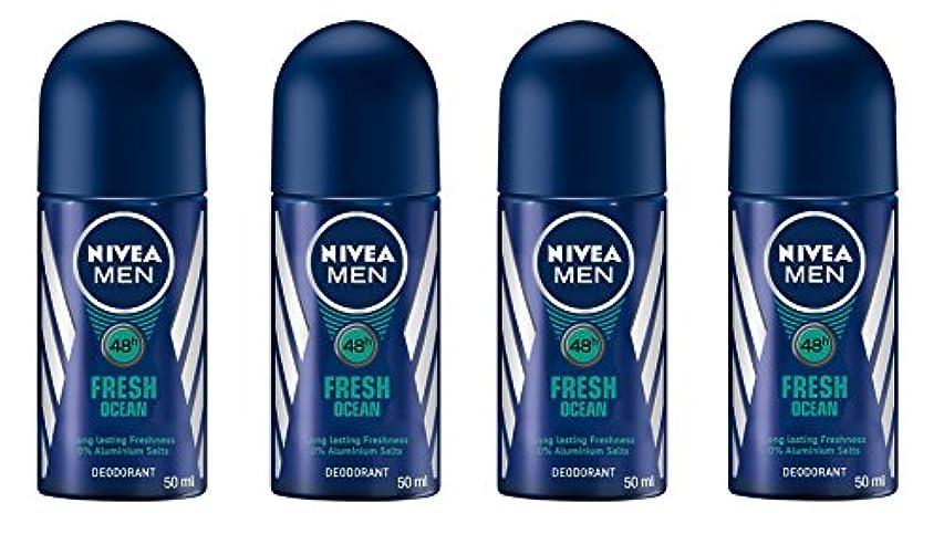 移行スクラップ種(Pack of 4) Nivea Fresh Ocean Deodorant Roll On for Men 4x50ml - (4パック) ニベア新鮮な海洋デオドラントロールオン男性用4x50ml