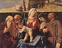 手描き-キャンバスの油絵 - Madonna and Child with Saints ルネッサンス Lorenzo Lotto 芸術 作品 洋画 ウォールアートデコレーション -サイズ16