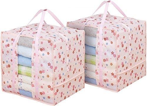 アストロ 衣類収納ケース 2個組 タテ型 取っ手付き 花柄 大きめサイズで衣類をタップリ収納できます! 197-03