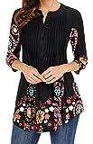 (チェイス シークレット)Chase Secret レディース チュニック カットソー トップス カジュアル 長袖 花柄 体型カバー ブラック 黒 Mサイズ