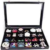 Wuligirl Clear Lid 24 Grid Jewelry Box Case Organizer Showcase Stackable Display Jewelry Removable Black Velvet with Lock (24