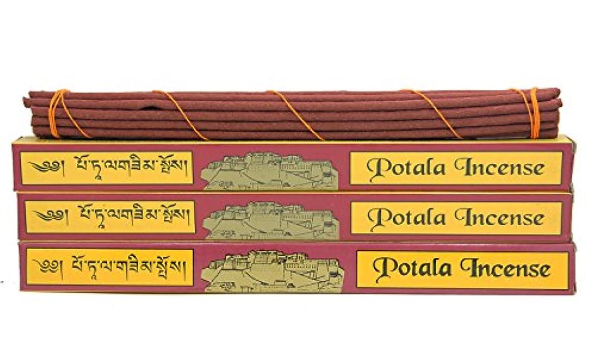 うん野生地域のDharmaObjects 3ボックス元チベット従来Potala Incense Large 60 Sticks レッド 14139981