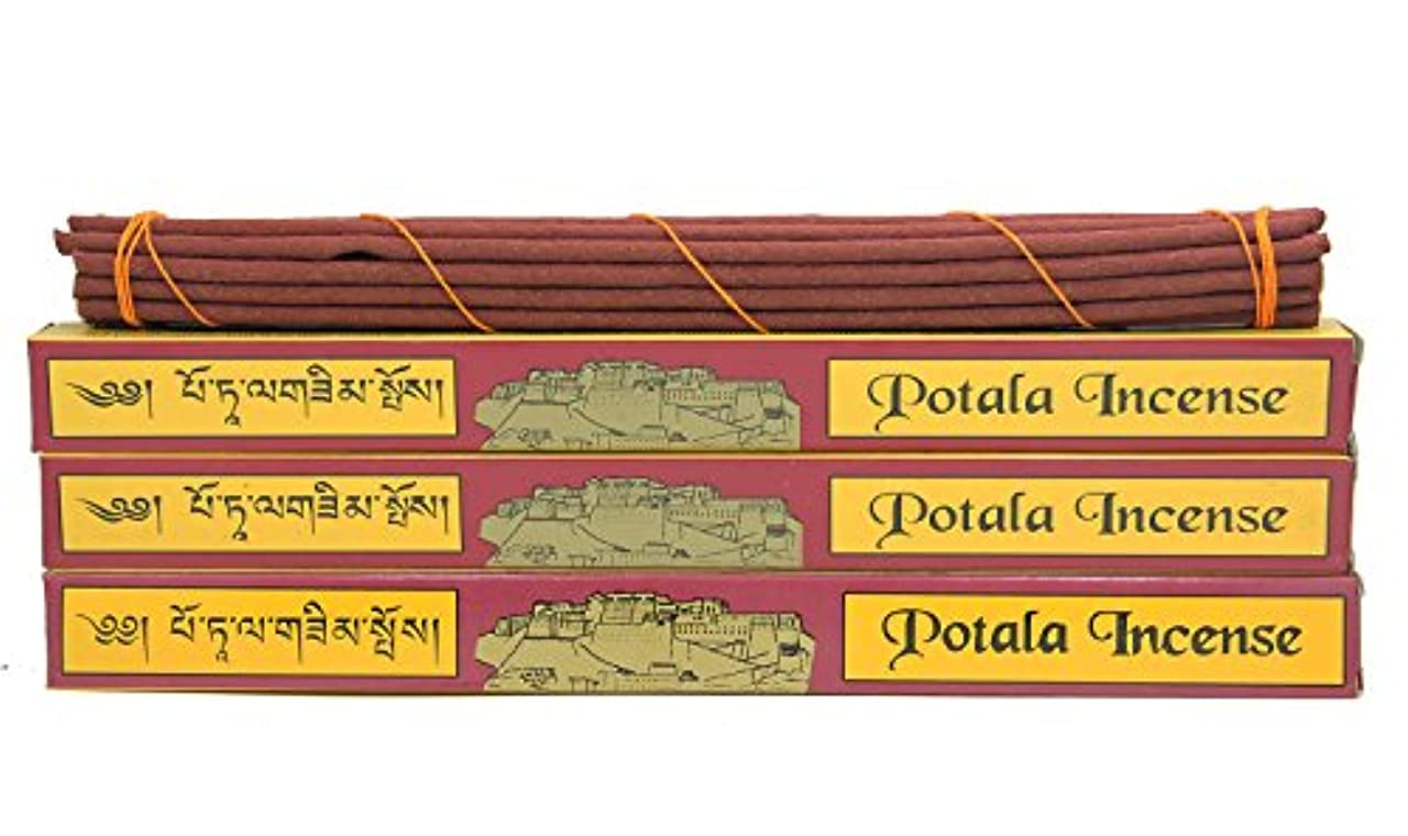 DharmaObjects 3ボックス元チベット従来Potala Incense Large 60 Sticks レッド 14139981