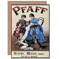 VINTAGE PFAFF SEWING MACHINE GERMANY RETRO ADVERT GREETINGS CARD ビンテージドイツ人広告挨拶