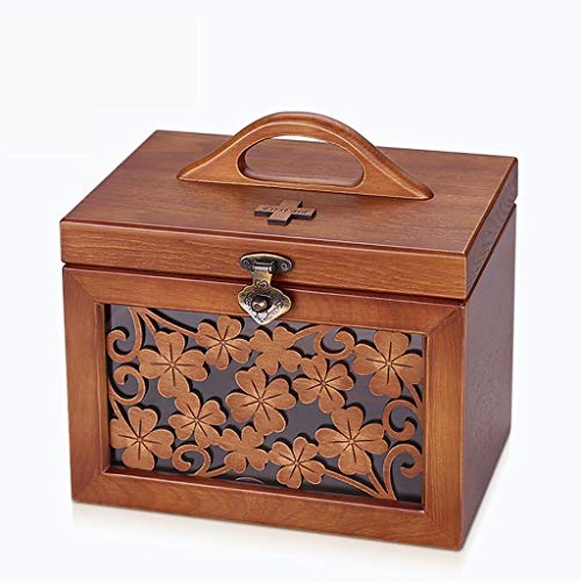 野球一致受取人木の薬品箱家の救急箱の医学箱家族の薬の収納箱 薬箱 (Size : 19cm×18cm×25cm)