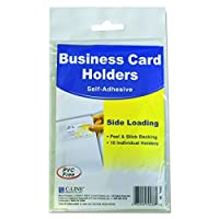 C-Line 70238 Self-Adhesive Business Card Holders Side Load 3 1/2 x 2 Clear (Pack of 10) [並行輸入品]