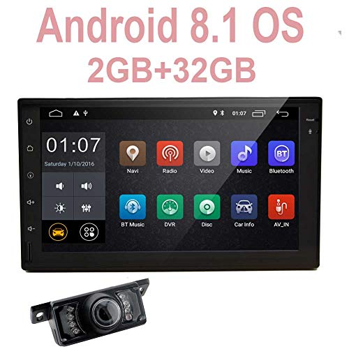 Eincar Double Din Car Stereo with Android 8.1 Oreo System with Octa core 2GB 32GB WiFi GPS Navigation Bluetooth Screen Mirror 3/4G Steering Wheel Control 7 Inch Screen Car Media Player FM/AM RDS Radio with Cam View Input