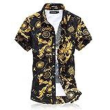 CEEN 上質仕様 オシャレ コットン スリム アロハ メンズシャツ キレイめ系 プリントシャツ さわやか 花柄フラワー 襟付 半袖 シャツ メンズ 総柄シャツ カジュアルシャツ 大きいサイズ(金色,5XL)