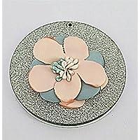 HuaQingPiJu-JP ミニ花のパターン小さなガラスの鏡サークル工芸装飾化粧品アクセサリー