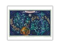 世界ルートマップ - エアフランス - ゾディアックの占星術星座サイン - ギリシャ神話の人物星座早見表 - ビンテージな航空会社のポスター によって作成された ルシアン・ブーシェ c.1950 - アートポスター - 23cm x 31cm