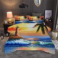 四季水彩画油絵マイクロファイバーソフト快適な寝具セット(シングル/二重)、3Dウエスタンアートカラープリント風景とジッパー布団カバーセット、3本200x200 2pcs135x200