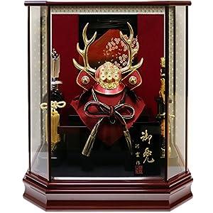 五月人形 兜ケース飾り 真田幸村兜 間口42.5×奥行28×高さ47.5cm ワイン塗六角ケース G2812Z