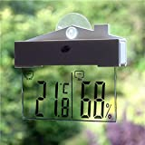 Demiawaking シンワ 風呂用 デジタル温度計 防水 電子温度計/湿度計 室内/室外 温湿度計 吸盤付き
