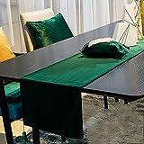 ソリッドカラーテーブルランナーシューズキャビネットコーヒーテーブルテレビキャビネットカバータオルベルベット素材柔らかく繊細 (色 : 緑, サイズ さいず : 32×180cm)