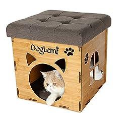 GPR 多用途 猫用 ベッド ソファ ハウス 腰掛け ドーム型ベッド かわいい 木材使用 椅子式 ペットハウス チェア 工具不要 組立簡単 最大荷重 150KG (ベージュ)
