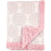 Hudson Baby Plush Blanket with Furry Binding & Back, Modern Floral [並行輸入品]