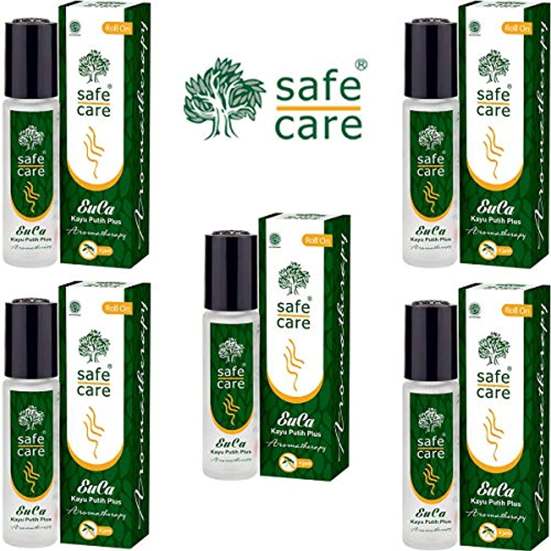 骨髄スペクトラム削るSafe Care セーフケア Aromatherapy Kayu Putih Plus アロマテラピー リフレッシュオイル カユプティプラス ロールオン 10ml×5本セット [海外直送品]