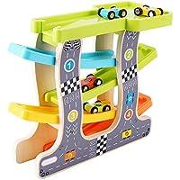 Powanfity_JP くるくるスロープ 木製スロープ 滑空車 4台セット ミニコースター木のおもちゃ 知育玩具 ルーピング ビーズコースター スロープトイ