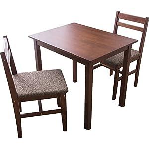 アイリスプラザ ダイニングテーブルセット3点セットニコル NCL80TBL3SWN ウォールナット×ブラウン テーブル:幅約80×奥行約60×高さ約70、チェア:幅約42×奥行約47×高さ約80 (座面高)43㎝ 7126722