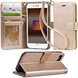 「Arae」 iphone 7 ケース 手帳型 iphone 7ケースRoHS規格認定書取得 iphone7 ケース スタンド機能付き iphone7ケース マグネット内蔵 アイホン 7 ケース ストラップ付き アイホン7 ケース 財布型 アイホン7ケース カードポケット付き アイホン 7ケース 耐衝撃 (シャンパンゴールド)