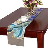 LKCDNG テーブルランナー 和風の動物 クロス 食卓カバー 麻綿製 欧米 おしゃれ 16 Inch X 72 Inch (40cm X 182cm) キッチン ダイニング ホーム デコレーション モダン リビング 洗える