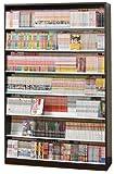 漫画1078冊 収納力2倍のひな壇式 コミック本棚 幅119cm ディスプレイスタンド3セット付 (ダークブラウン D)