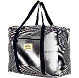 折りたたみ バッグ キャリーバッグ スーツケースに通せる 大容量 旅行 ナイロンバッグ 防水 3サイズ SmartTravel (Lサイズ, 1. ネイビー(持ち手) x ネイビー ストライプ)