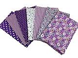 花柄 綿混紡 生地 DIY手芸用 カットクロス パッチワーク布 はぎれ 50×50cm 7枚セット (パープル)