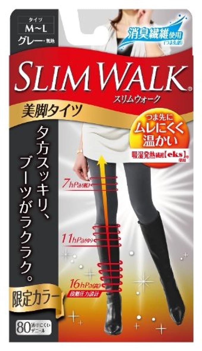 教科書入浴移住するスリムウォーク 美脚タイツ グレー M~Lサイズ