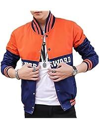 maweisong 軽量バーシティジャケットメンズボタンダウン大学野球のジャケット