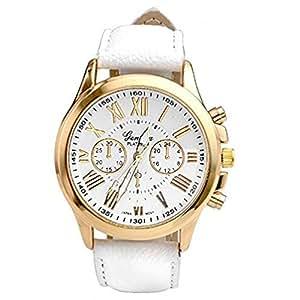 Goenn 腕時計 レディース ビジネス 人気 ユニセックス ファッション レザーバンド シンプル スタイル ウォッチ 女性 (ホワイト)