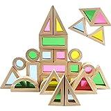 Agirlgle Wood Building Blocks Set for Kids 24 Pcs Rainbow Stacker Stacking Game Construction Building Toys Set Preschool Colo