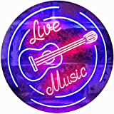 Live Music Guitar Band Room Studio Dual Color LED Neon Sign Red & Blue 400 x 300mm st6s43-i2546-rb