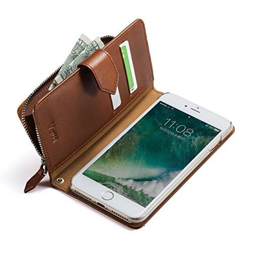 サンワダイレクト iPhone7 Plus ケース 手帳型 本革 【小銭入れ・カード収納付き】 ストラップホール付 ブラウン 200-SPC023BR