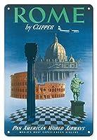 Clipper ローマ、イタリア - パンアメリカンワールド エアウェイズ (PAA) - ビンテージ 航空会社 トラベルポスター c.1951 - ファインアートプリント 8 x 12 in Tin Sign MTSA3046
