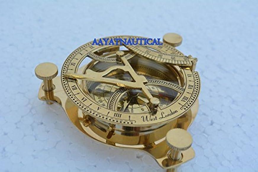 架空のセクションラボ真鍮round-sundial-west-london-style-compass-antique-maritime-brassレプリカ