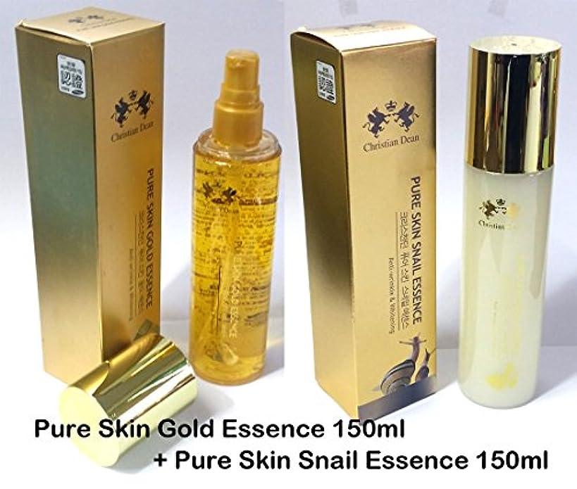 刺繍株式会社すばらしいです[Christian Dean] ピュアスキンゴールドエッセンス150ml +ピュアスキンカタツムエッセンス150ml / Pure Skin Gold Essence 150ml + Pure Skin Snail Essence 150ml / 純金エキス(99.9%)/カタツムリ/ 韓国化粧品 / pure gold extract (99.9%) / Snail mucin / Korean cosmetics [並行輸入品]