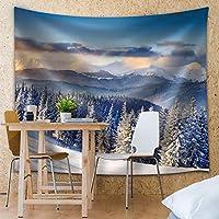 TANGANGEL - 山の上の松の木に雪が降った - ファブリックタペストリー、家の装飾 - 51 x 60インチ