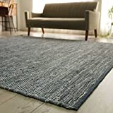 洗える 平織り デニムラグ ラグマット 「 デニム 」 約 80x150 cm ブルー 約 1畳 ホットカーペット対応