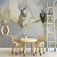 Bzbhart テレビの背景装飾画、壁用ステッカー壁紙写真カスタム3D背景北欧抽象鹿シンプルなファッション壁画キッズルームリビングルーン寝室大規模-450cmx300cm