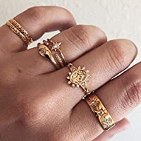 Victray Sun Rings Gold Hollow Carved Ring Set Stylish Fashion Bracelets Hand Accessories Jewelry for Women and Girls(7 PCS)