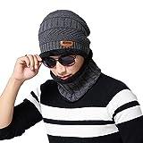 ネックウォーマー ニット帽 セット 伸縮性よい 裏起毛 男女兼用 防寒 防風 (グレー)