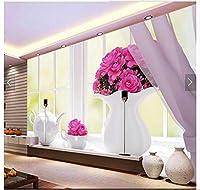 Bzbhart 3D壁紙カスタム3D壁テレビ壁紙壁画エレガントな窓花瓶テレビ設定ウォールペーパーリビングルーム装飾-250cmx175cm