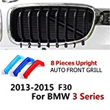 3色abs 3d m スタイリング フロント グリル トリム ストリップ カバー モータースポーツ電力性能ステッカー用bmw x3 x4 x5 x6 3 4 5 シリーズ-3 Series 8 grill